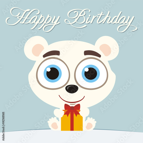 Happy Birthday Funny Little Polar Bear With Birthday Gift In