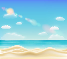 real beautiful bright sea sand beach vector