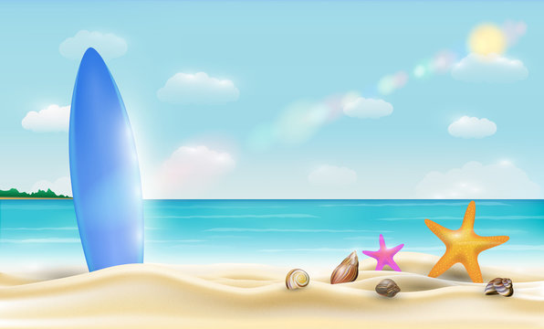 surfboard on a beautiful bright sea sand beach vector