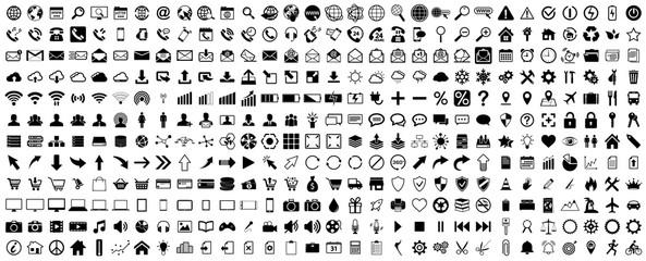 Obraz Black web icons set on white background - fototapety do salonu