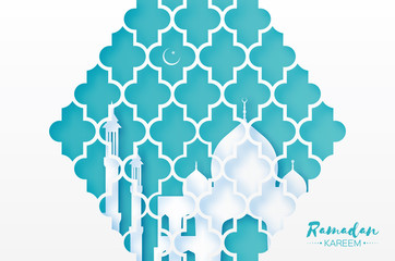 Ramadan Kareem. Origami Mosque Window. Holy month