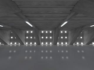 Dark empty room interior with lamps. 3D rendering