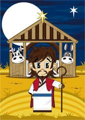 Cartoon Jesus Christ at Nativity Barn