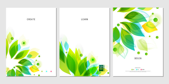 Set of business posters with abstract leaf