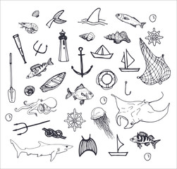 hand drawn fishing and sea isolated elements on white background