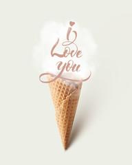 Ice cream cone with love concept