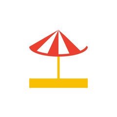 Vector icon or illustration showing umbrella on the sand in material design style