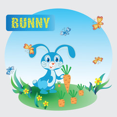 Fun Bunny and carrot . Zoo. A child's drawing. Blue Bunny. The cartoon characters. Design for sample, emblems, children's books, the background image.