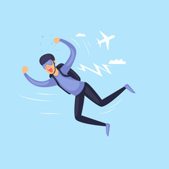 Skydiving man. Parachuting sport. Isolated. Extreme sport. Flat design vector illustrations.