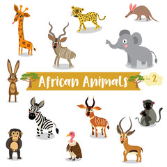 African Animals cartoon on white background, Vector illustration. Set 2.