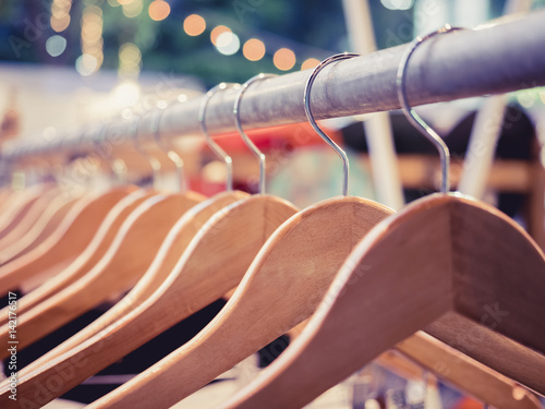 clothing on hangers fashion retail display shop outdoor market event stockfotos und. Black Bedroom Furniture Sets. Home Design Ideas