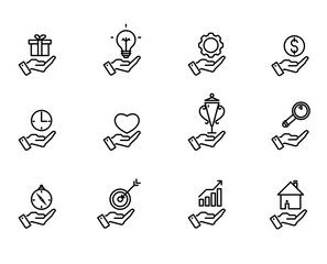 Hand concept icons. Examples of symbols for business ideas & infographics presentations.