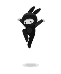 Jumping cute bunny ninja isolated on white background
