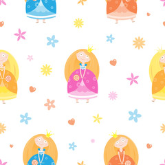 Seamless pattern with cute cartoon princesses on white background. Little beautiful girls, flowers, candy and hearts. Vector image. Children's illustration.