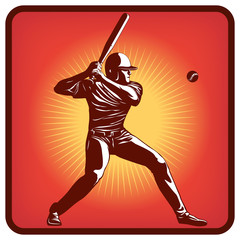 Graphics icon of baseball player with bat and ball