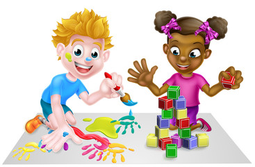 Cartoon Girl and Boy Playing With Blocks and Painting