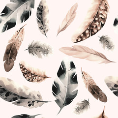 Seamless pattern of feathers in watercolor style