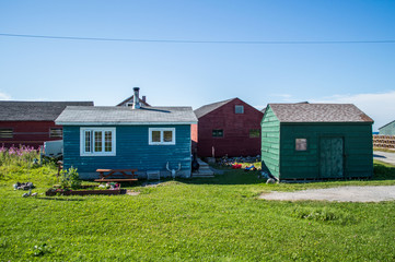 Colorful Wooden Houses in Gros Morne National Park in Newfoundland, Canada