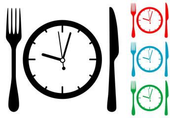 Icono plano cubiertos alrededor del reloj varios colores