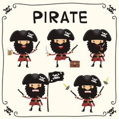 Set pirate in cartoon style. Collection isolated pirate with black beard in black cocked hat with skull.