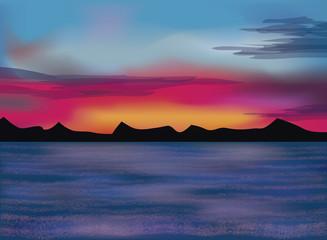 Evening sea wallpaper, vector illustration