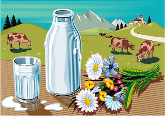 Glass and bottle of fresh pasteurized milk, a bunch of wild flowers and agricultural landscape with grazing cows.