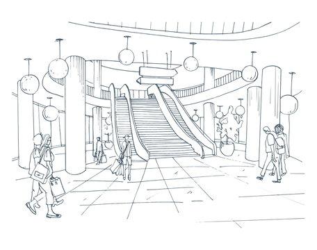 Modern interior shopping center, mall. Contour sketch illustration.