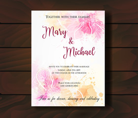 Wedding invitation with abstract design