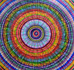 Colorful mandala, multicolor pattern. Drawing. Crayons.