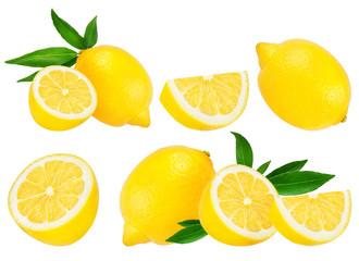 Wall Mural - Fresh lemon isolated on white