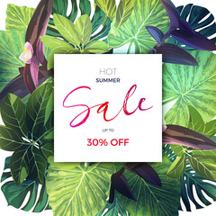 Bright green summer tropical background with exotic palm leaves and pink flowers. Modern vector floral sale template.