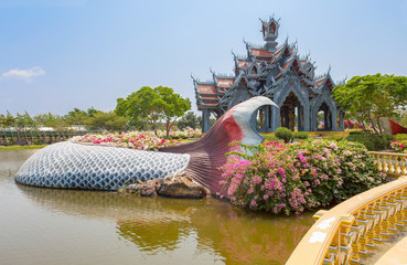 SAMUT PRAKAN, THAILAND, MARCH, 6, 2017 - Sumeru Mountain Palace in Ancient City Park, Muang Boran, Samut Prakan province, Thailand