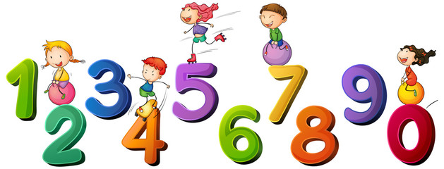 Children and numbers one to zero
