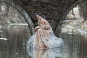 Atmospheric outdoor portrait of sensual young woman wearing elegant dress sitting under the bridge of river.