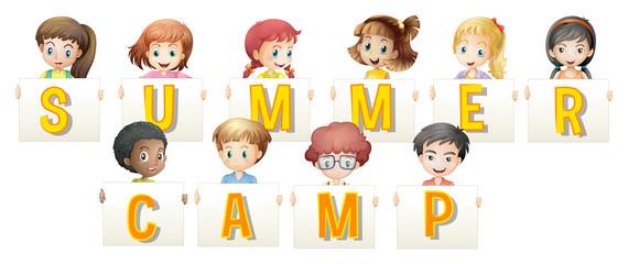 Children holding words for summer camp