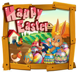 Happy Easter card template with bunny in the farm