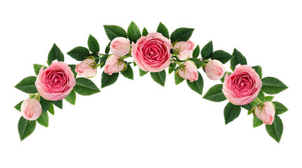 Pink rose flowers and buds arch arrangement