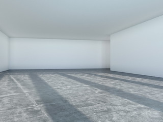 Empty room with window shadow