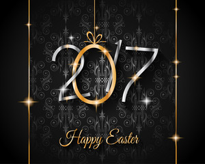 Happy 2017 Easter modern and elegant background with a Golden egg