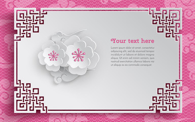 Oriental frame, floral arrangement with cherry flowers on pink pattern background with clouds for greeting card decoration, paper cut out style. Vector illustration, layers are isolated
