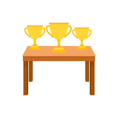 table wih medals cup vector illustration