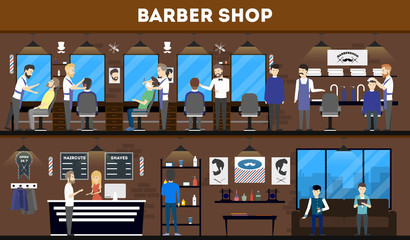 Barbershop interior, stylish hair salon or barber shop. Hairdresser and customer. Cutting styling washing, hair dryer.
