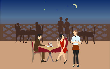 Couple having dinner in restaurant. Man and woman sitting at the table. Vector illustration