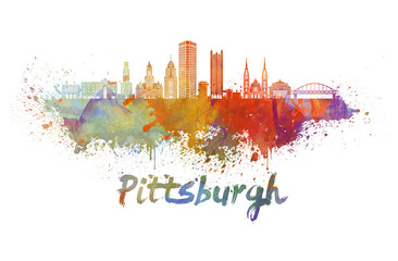 Wall Mural - Pittsburgh V2 skyline in watercolor