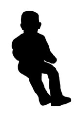 Silhouette of little boy sitting vector black.