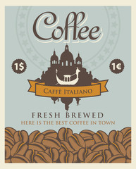 Vector banner with coffee beans and view of Venice with gondola with the inscription Italian coffee in retro style