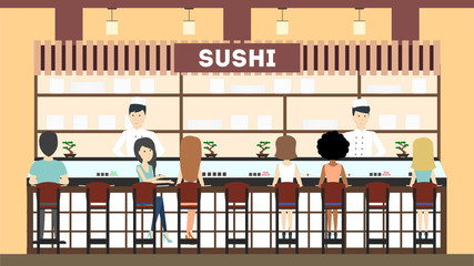 Sushi bar interior. Asian chefs and waitresses.
