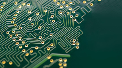 Close up Image of Electronic Circuit Board. Computer Technology Concept Background