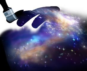 sky, stars and nebula interstellar clouds