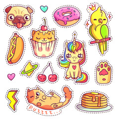 Stickers set in 80s-90s pop art comic style. Patch badges and pins with cartoon animals, sweet and fast food. Vector crazy doodles with cute unicorn, pug's head, cupcake cat etc.